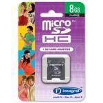 INTEGRAL 8GB MICROSD + SD ADAPTER, 8 GB, MICRO SECURE DIGITAL HIGH-CAPACITY (MICROSDHC), 4 MB/S, NEGRO, 2.7 - 3.6V, 0 - 60 °C