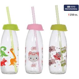 BOTELLA DECORADO C/PAJITA 250ML - SURTIDOS