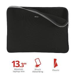 "FUNDA UNIVERSAL TRUST PRIMO SOFT SLEEVE- PARA TABLETS/NETBOOKS DE 13.3"" - COLOR NEGRO  21251"