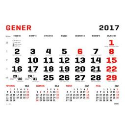 ING FALDILLA CALENDARIO PARED MENSUAL 32X44 CM PAPEL BLANCO 70 GR/M2 CATALÁN C80507