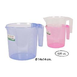 JARRA TRANSPARENTE COLOR SURTIDO, POLY TIME, 1,5L.
