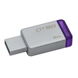 KINGSTON TECHNOLOGY DATATRAVELER 50 8GB, USB 3.0 (3.1 GEN 1), TYPE-A, 0 - 65 °C, -20 - 85 °C, SIN TAPA, PÚRPURA, PLATA