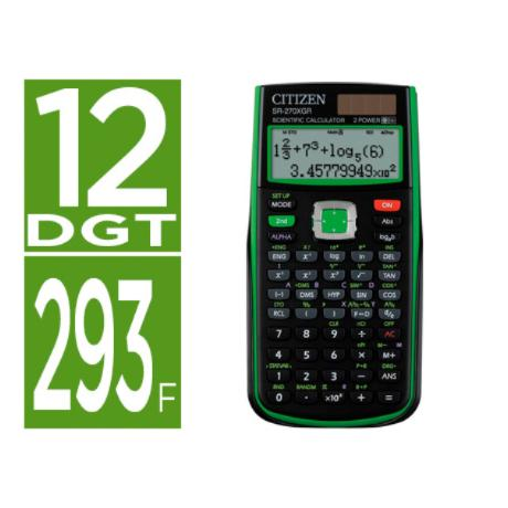 Calculadora Citizen Cientifica Sr-270xgr Verde 274 Funciones 10+2 Digitos 165x84x20 Mm