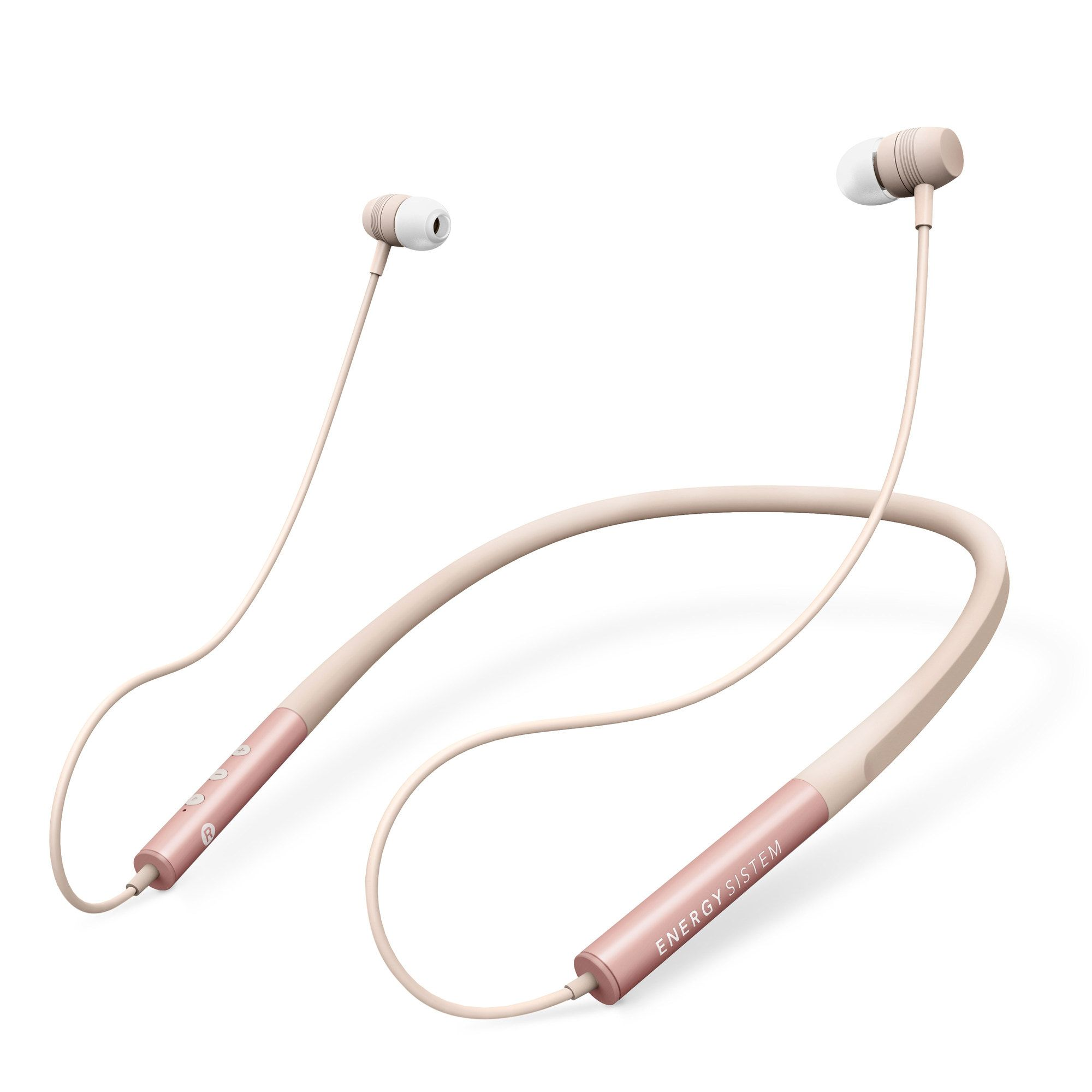 Earphones Neckband 3 Bluetooth Energy System Intrauditivos Rose Gold Banda Con Cierre Magnetico