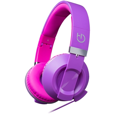 Headset Hiditec Cool Kids Purple Con Sistema De Plegado Jack 3.5mm Altavoces 40mm Control Y Microfono Incorporados En El Cable