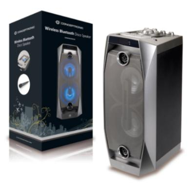 ALTAVOZ CONCEPTRONIC BLUETOOTH DISCO 20W REPRODUCE MP3 DESDE USB/MICROSD LUCES LED MANDO A DISTANCIA INCLUYE MICRO Y FUNCION KARAOKE
