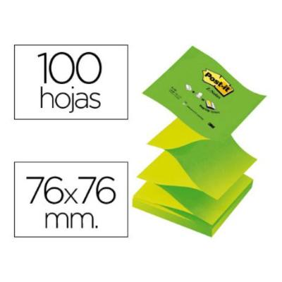 BLOC DE NOTAS ADHESIVAS QUITA Y PON POST-IT 76X76 MM Z-NOTES VERDE PASTEL Y NEON COLORES ALTERNOS PACK 12 BLOCS Y CUBOS DE NOTAS REPOSICIONALES