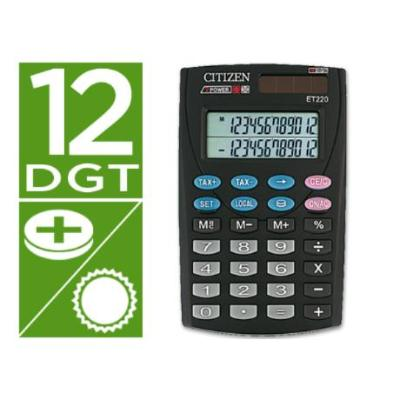 CALCULADORA CITIZEN BOLSILLO ET-220 12 DIGITOS DOBLE PANTALLA CON TECLA DE IMPUESTOS CALCULADORAS
